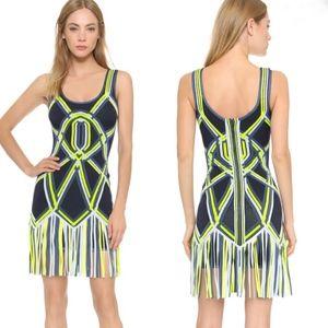 Herve Leger Charoletta basket weave fringe dress